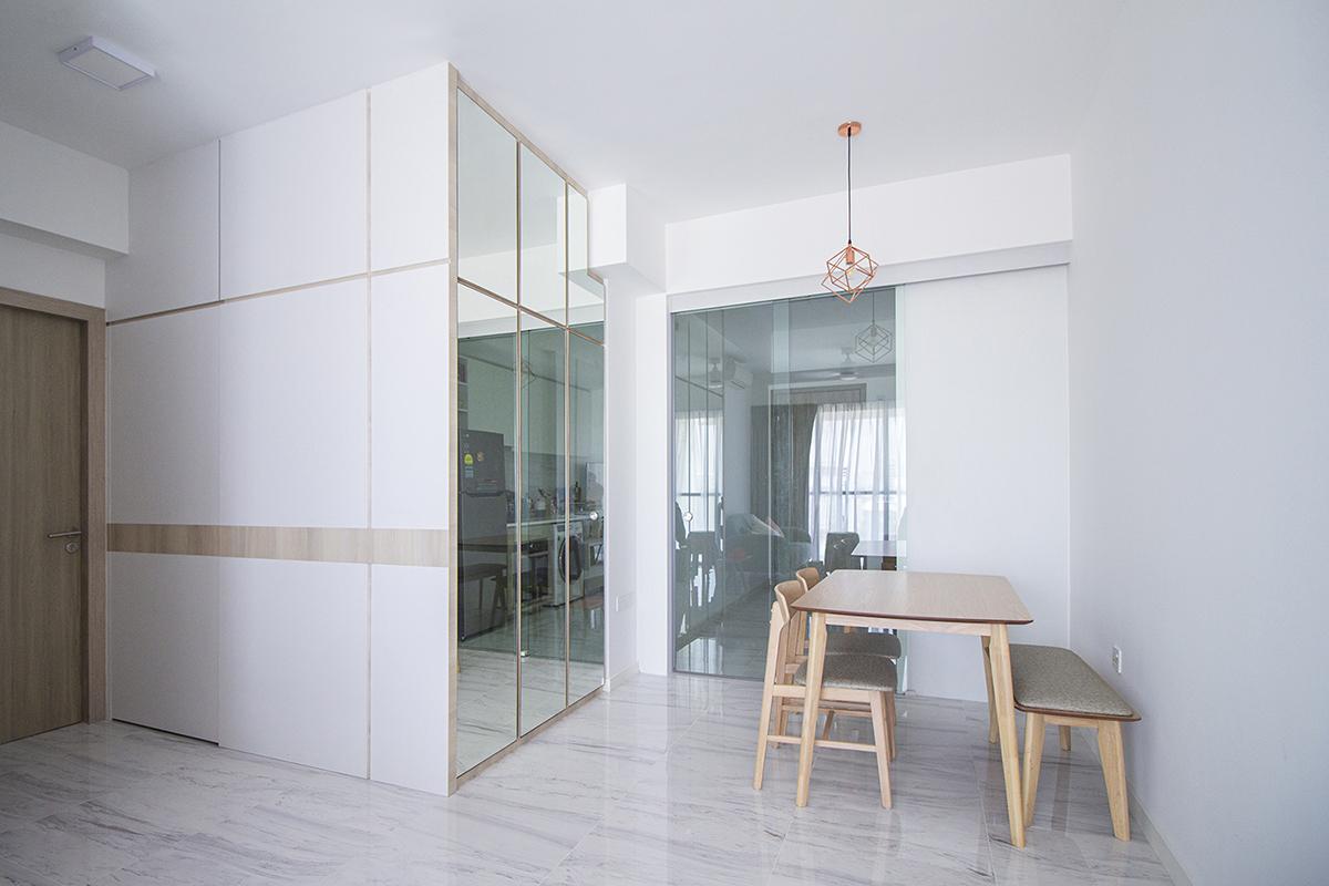 squarerooms noble interior design home renovation 24k budget cost reno bto flat minimalist white dining room mirror hidden storage door