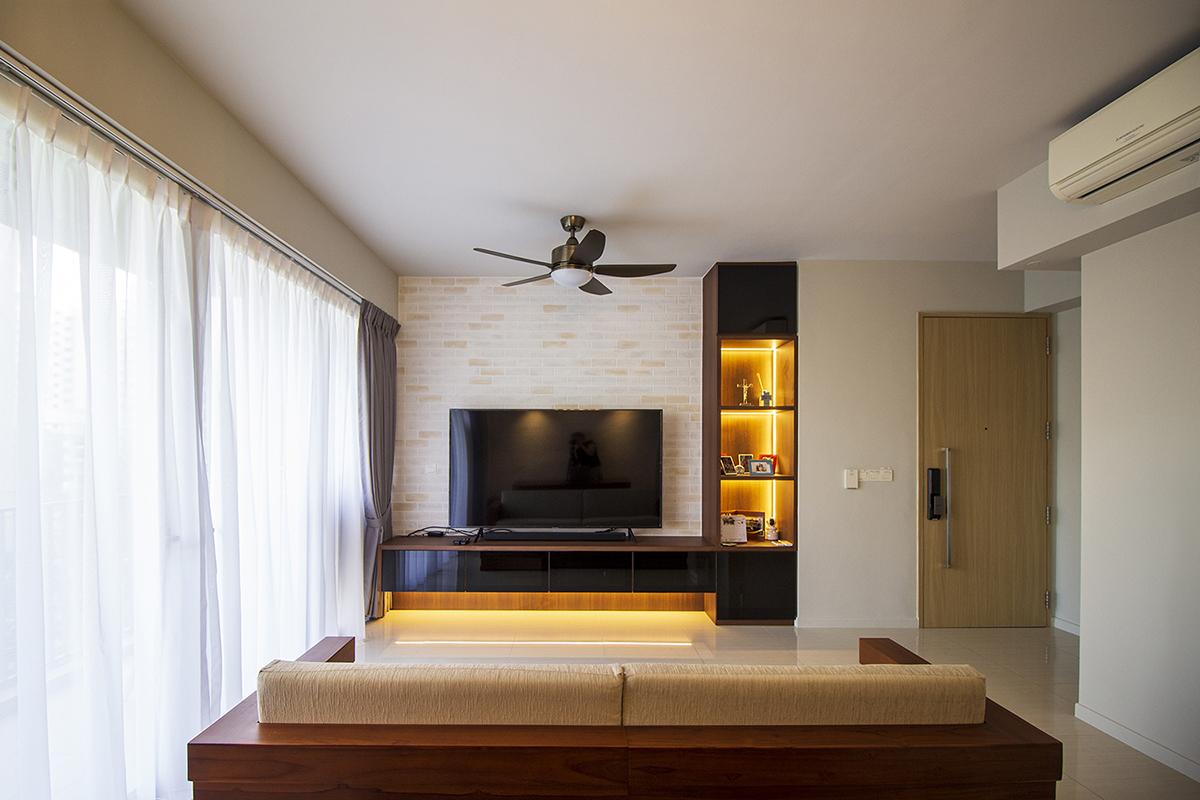 squarerooms home renovation noble interior design house bto flat hdb budget 15k cost living room light tv brick feature wall