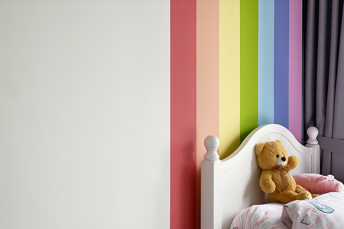 squarerooms home renovation noble interior design house bto flat hdb budget 15k cost rainbow wall paint feature kids room children