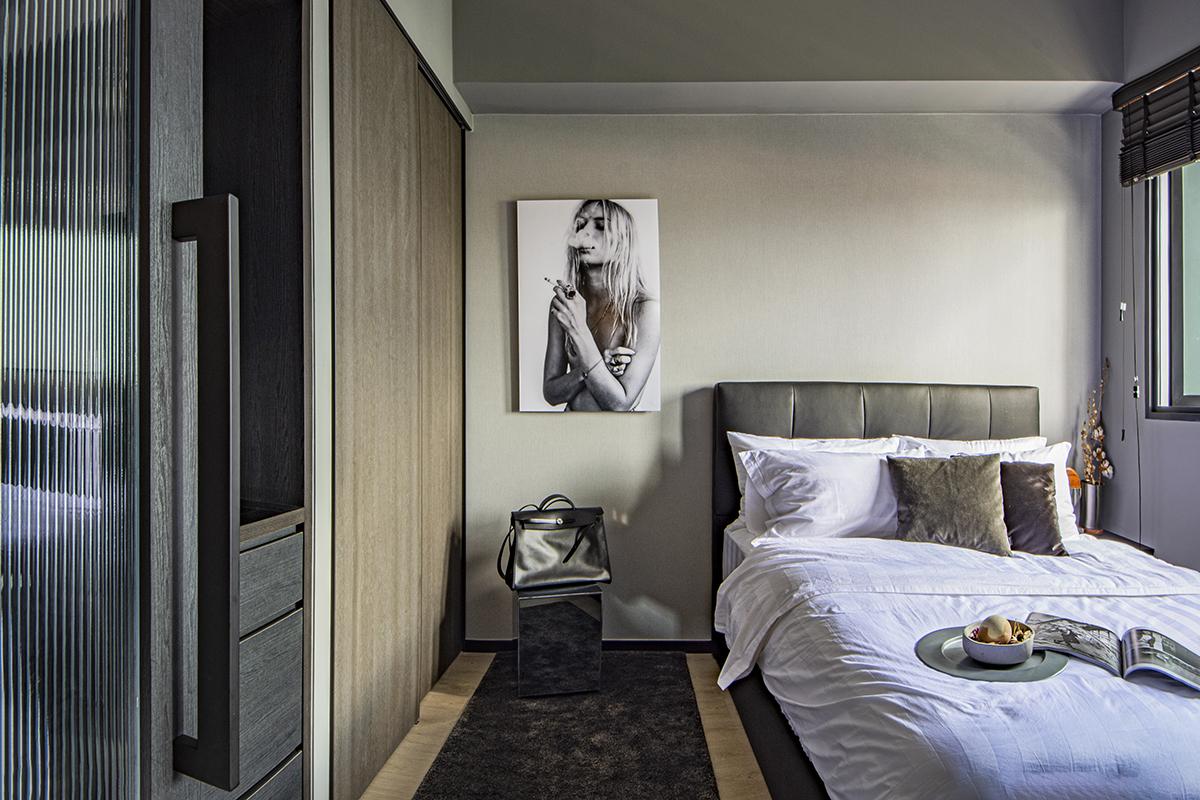 squarerooms distinctidentity home renovation interior design cost budget 20k bedroom minimalist monochromatic dark