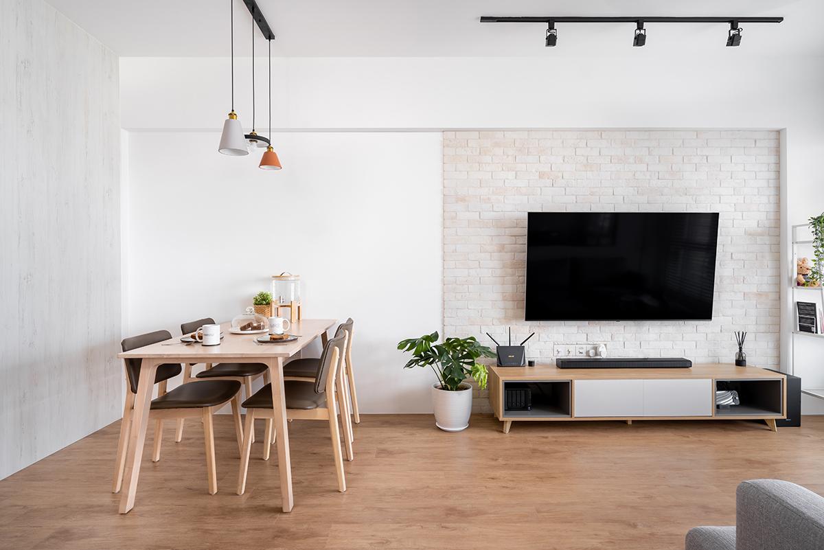squarerooms cozyspace interior design home house renovation 4-room bto flat hdb cosy scandinavian scandi minimalist wood vinyl floor living room dining feature wall tv