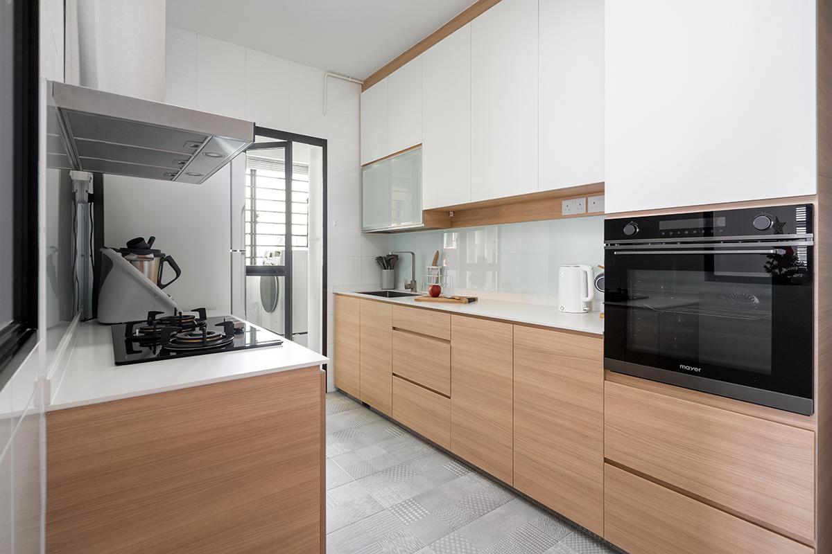 squarerooms cozyspace interior design home house renovation 4-room bto flat hdb cosy scandinavian scandi minimalist wood cabinets white overlay floor tiles