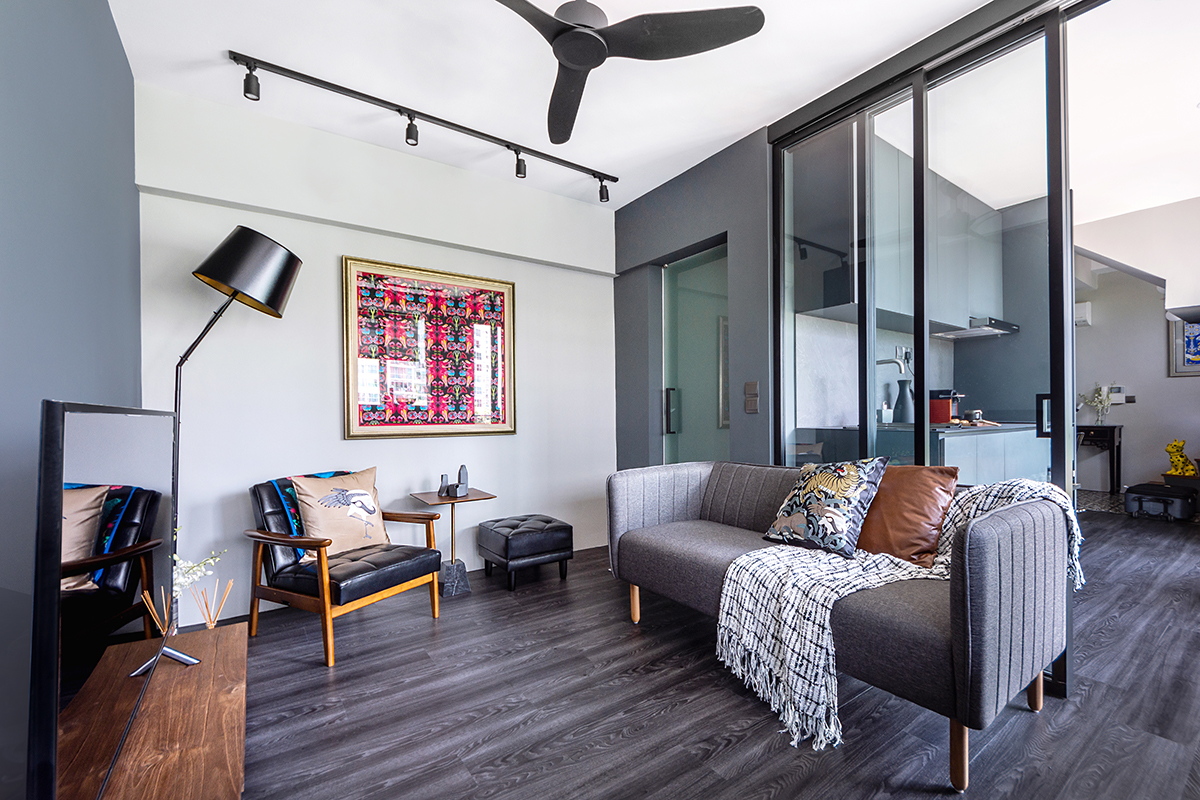 squarerooms distinctidentity home condo renovation minimalist modern chic living room grey couch art industrial