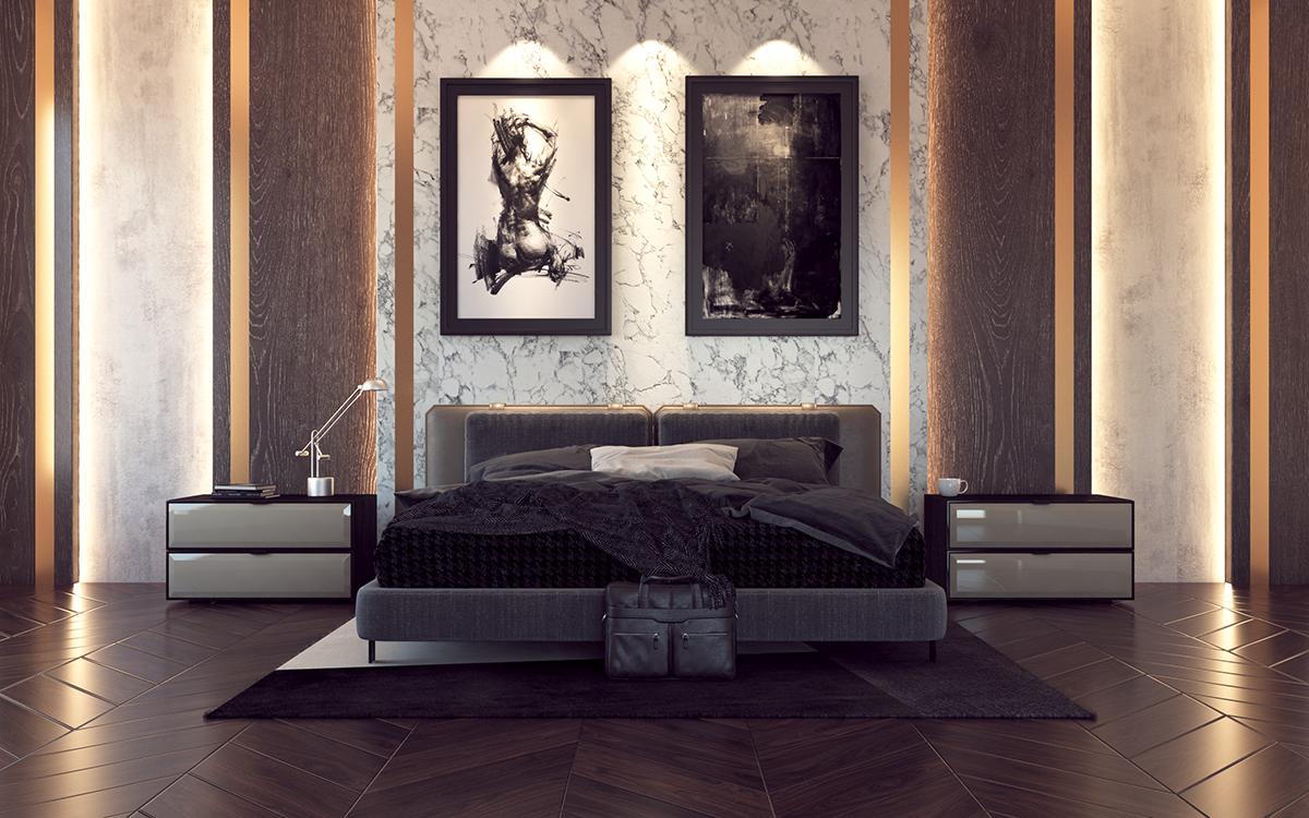 squarerooms arova boxx laminates high pressure avant garde surfaces bedroom luxury dark rich deep opulent wood brown black white monochromatic