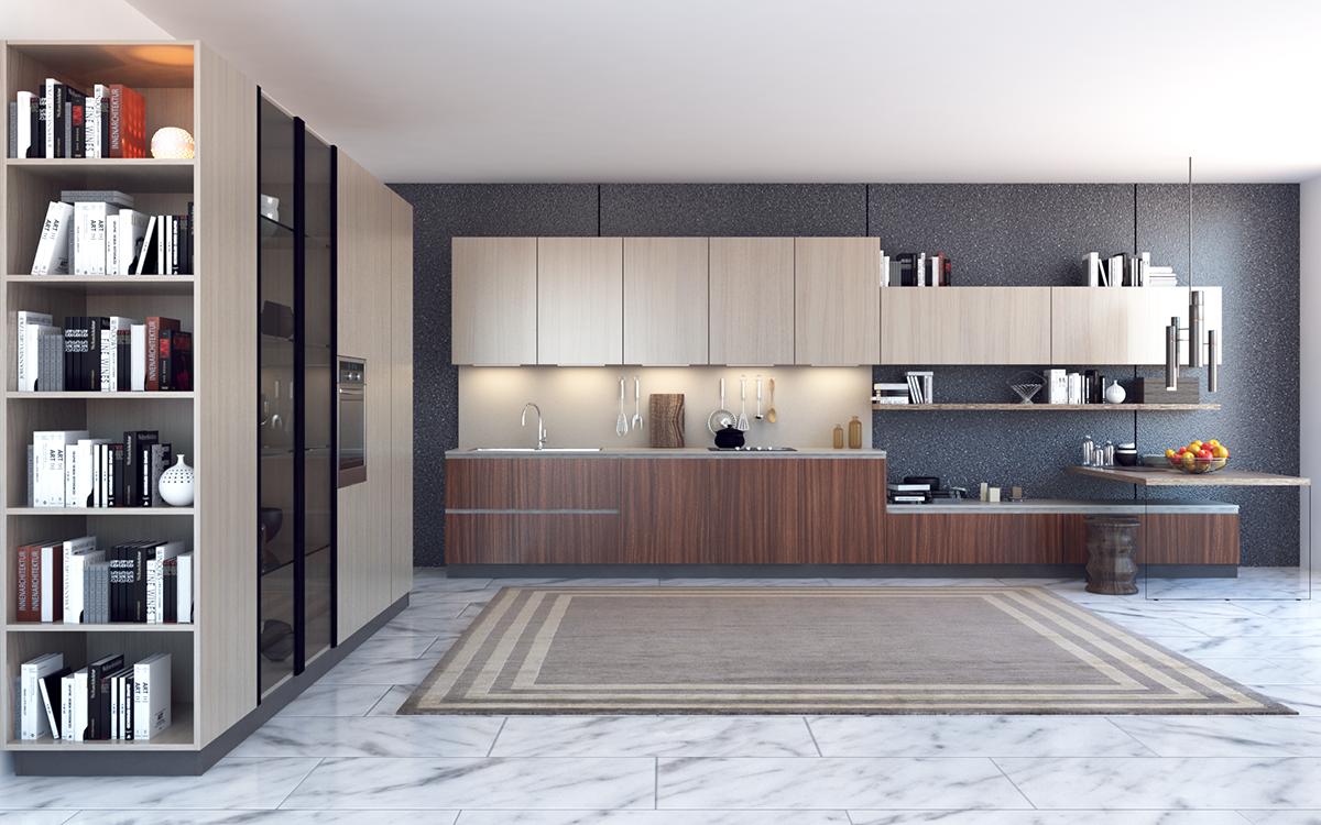 squarerooms arova boxx laminates high pressure avant garde surfaces kitchen blue wood white marble floor
