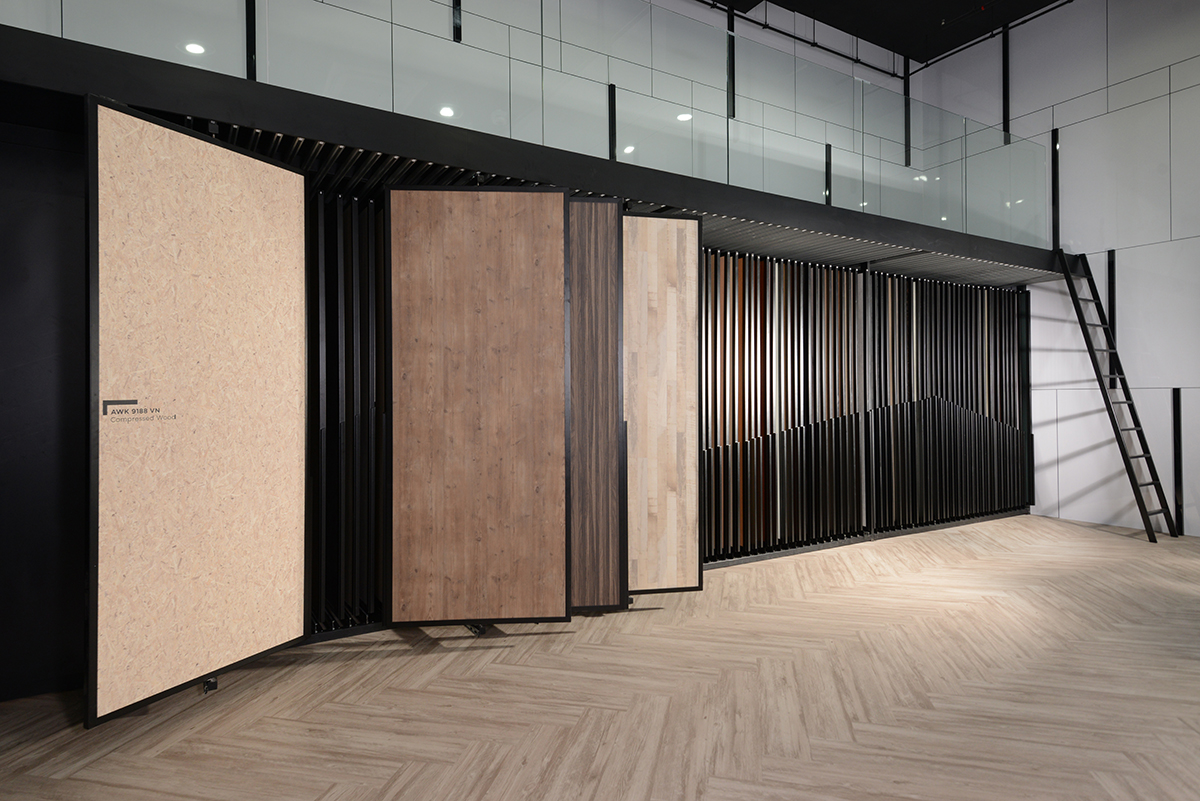 squarerooms arova boxx laminates high pressure avant garde surfaces showroom panel showcase wood textures