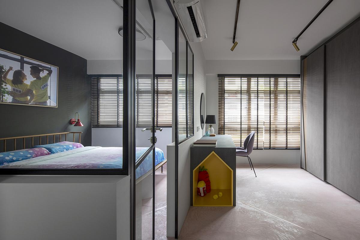 squarerooms versaform home bto hdb 5-room flat renovation interior design bedroom glass wall partition