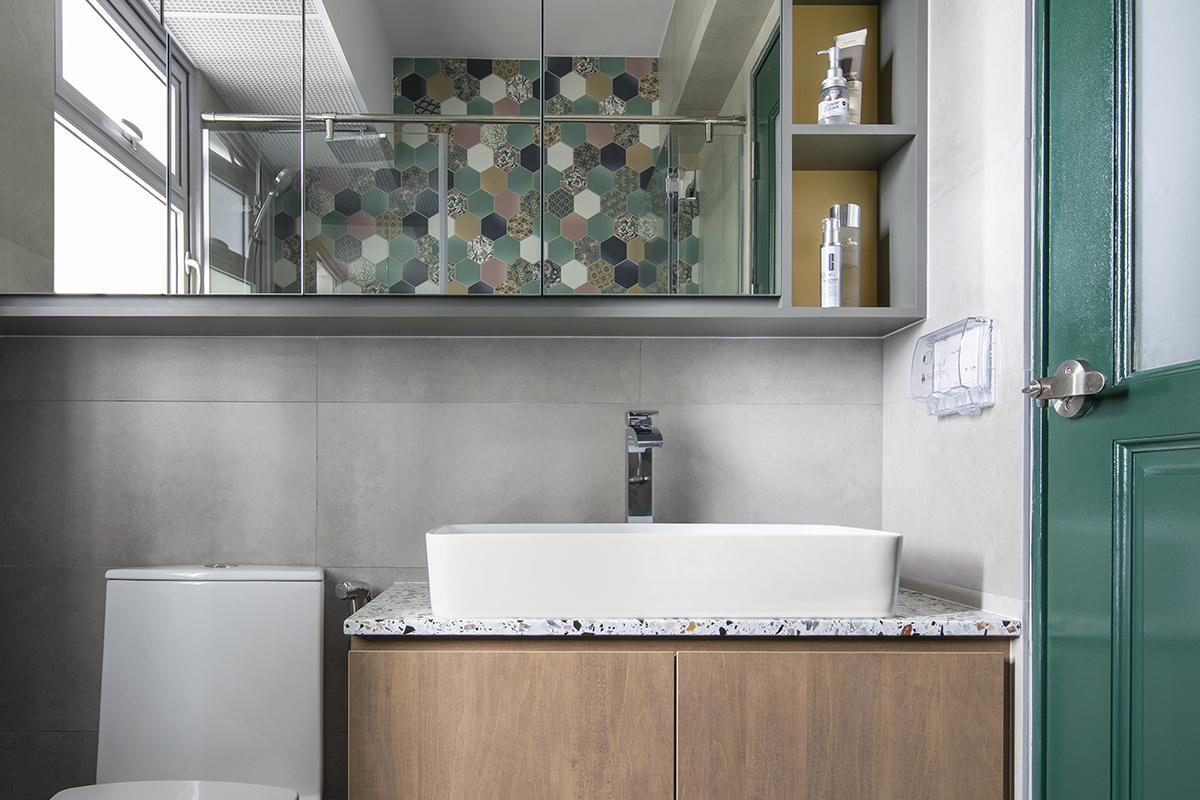 squarerooms versaform home bto hdb 5-room flat renovation interior design bathroom vanity wood light green tiles