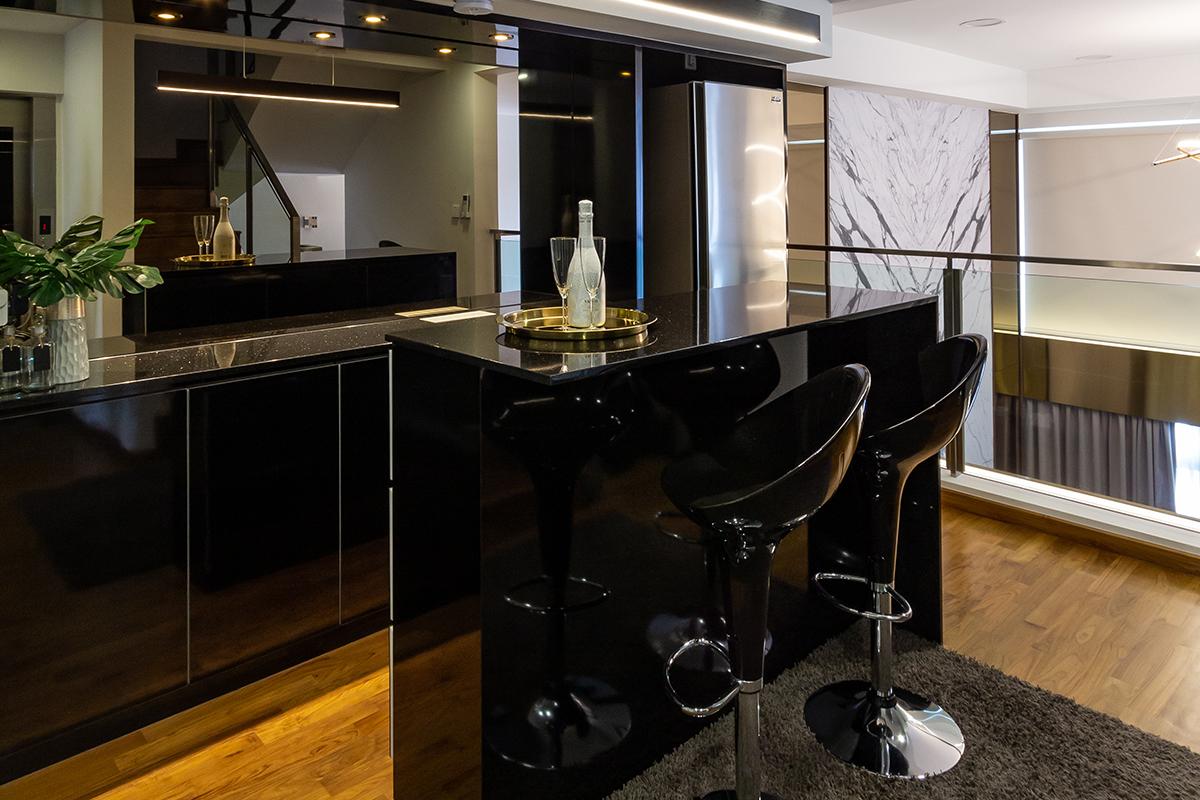 squarerooms fineline design luxury monochromatic landed house home renovation interior singapore luxe luxurious bar counter marble black dark