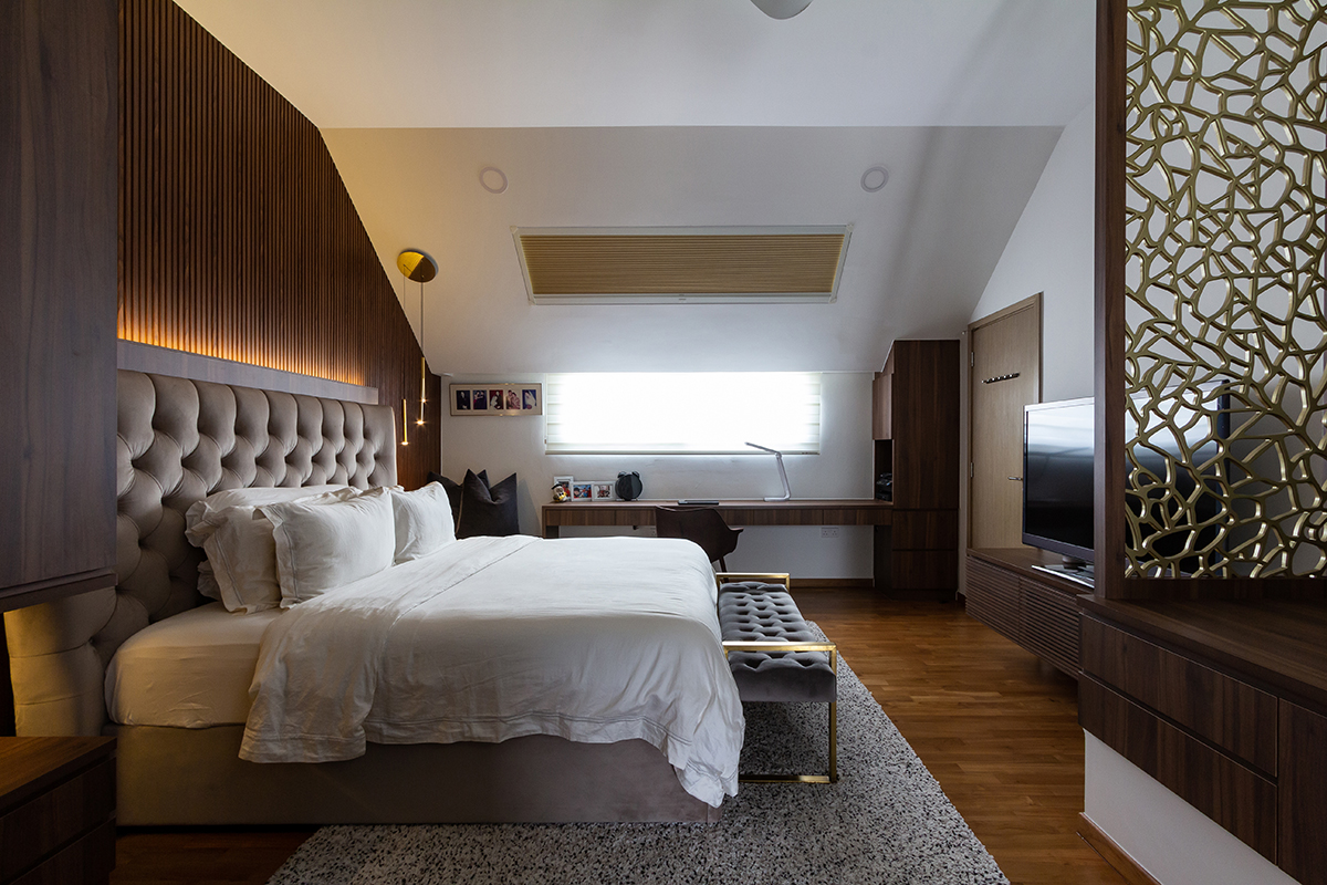 squarerooms fineline design luxury monochromatic landed house home renovation interior singapore luxe luxurious bedroom simple white wood