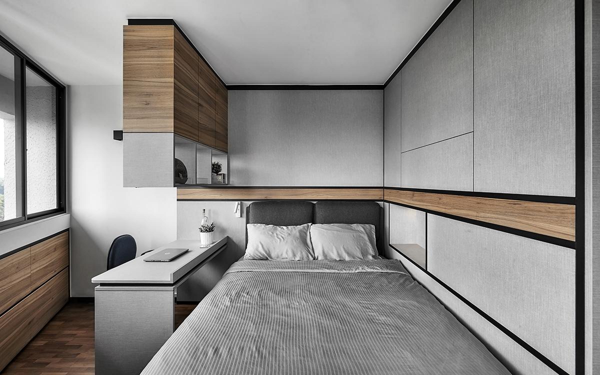 squarerooms richfield integrated home renovation interior design hdb 5-room resale flat minimalist bedroom white grey windows curved grey