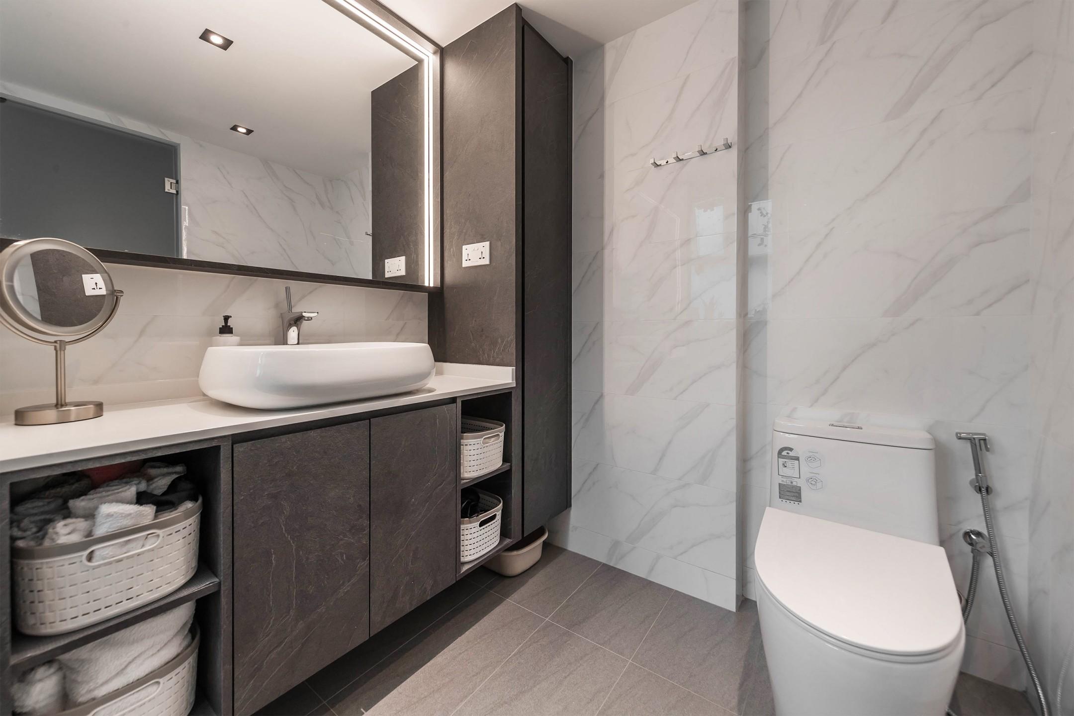 squarerooms renozone condo condominium renovation home interior design bathroom toilet monochromatic grey white
