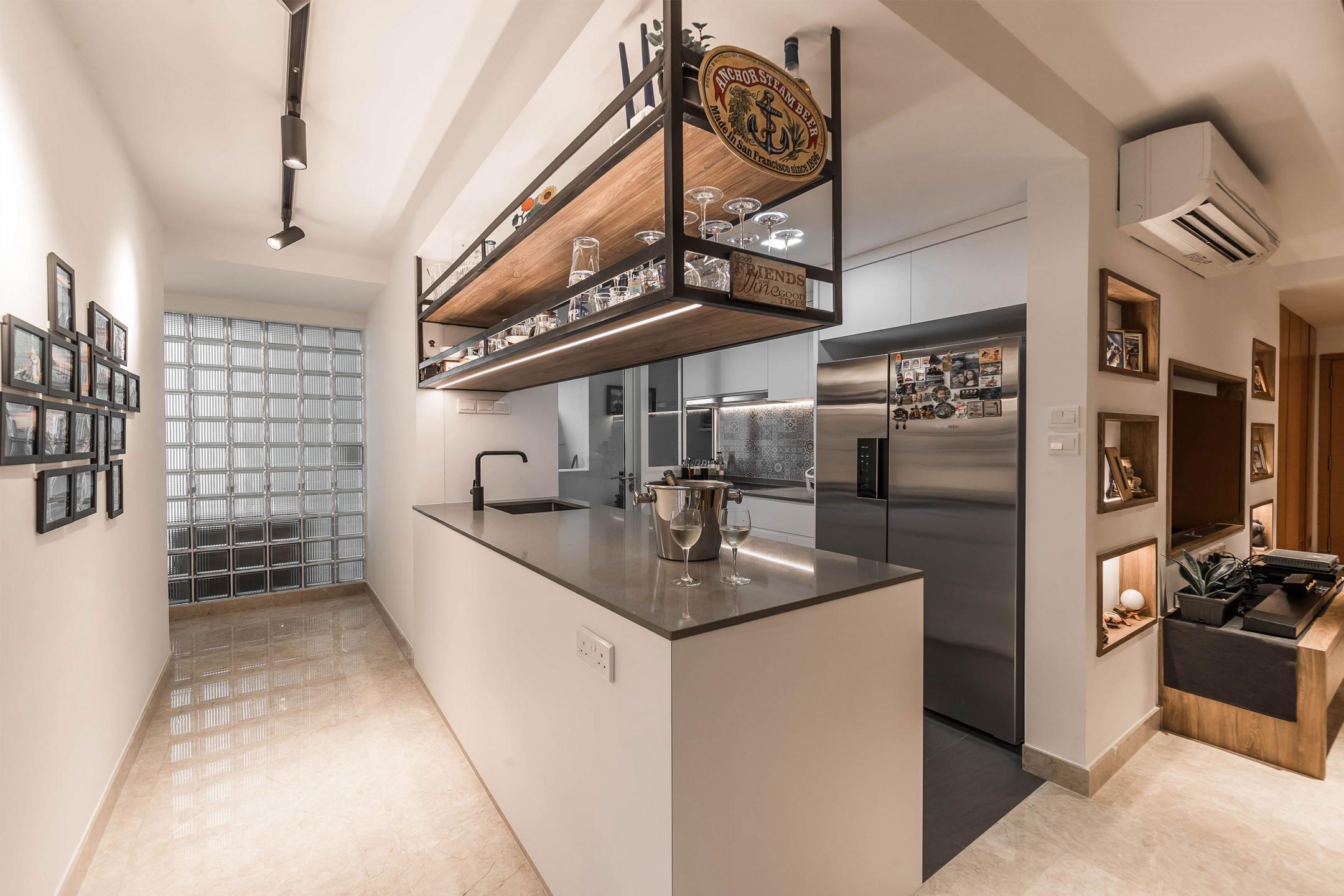 squarerooms renozone condo condominium renovation home interior design kitchen industrial rustic metal wood tavern inspired