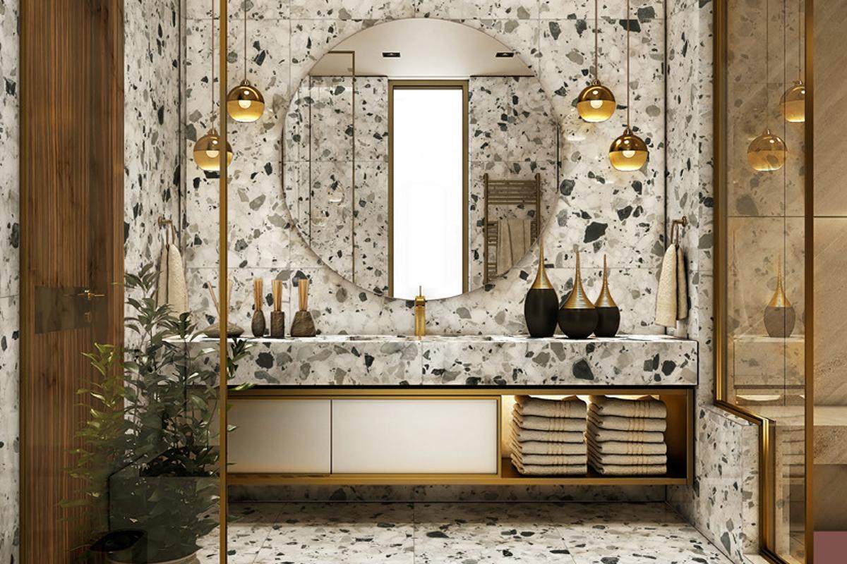 squarerooms soon bee huat sbh aegean tiles terrazzo large bathroom luxury gold white black mirror