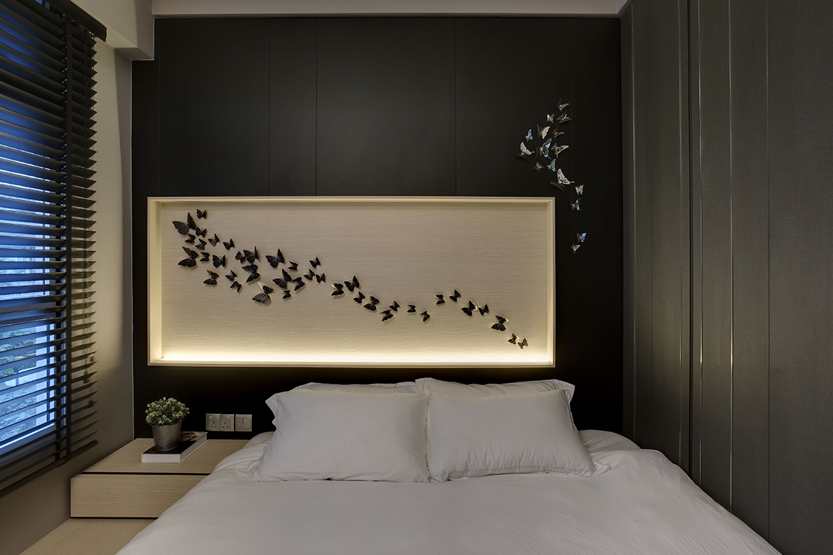squarerooms juz interior 5 room hdb flat home renovation interior design bedroom feature wall black dark white modern monochromatic butterfly design