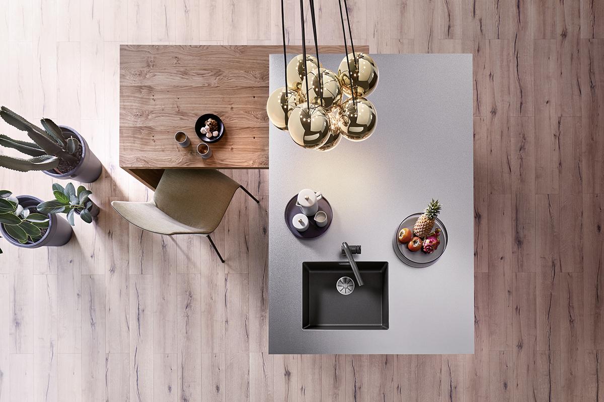 squarerooms blanco kitchen sink island counter flatlay down view wood white clean minimalist monochromatic