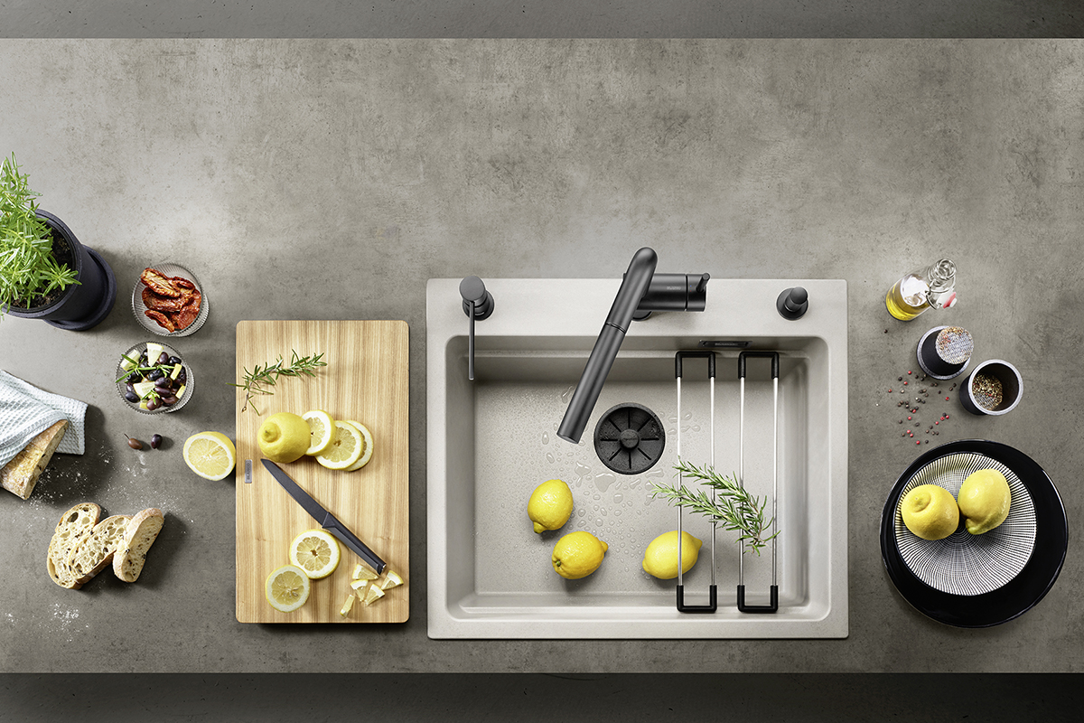 squarerooms blanco kitchen sink on counter island vegetables fruits flatlay