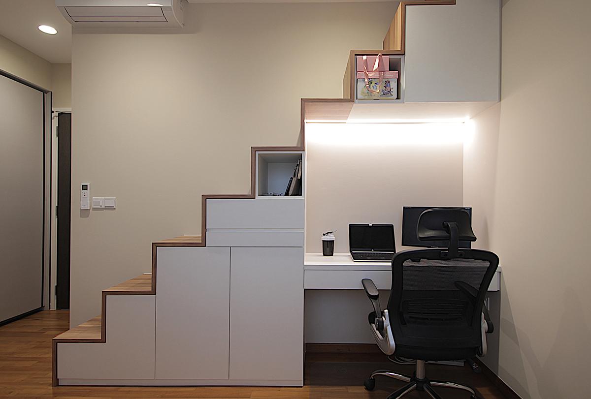 squarerooms vvid elements interior design home renovation designer local singapore minimalist desk home office study area staircase shelf nook