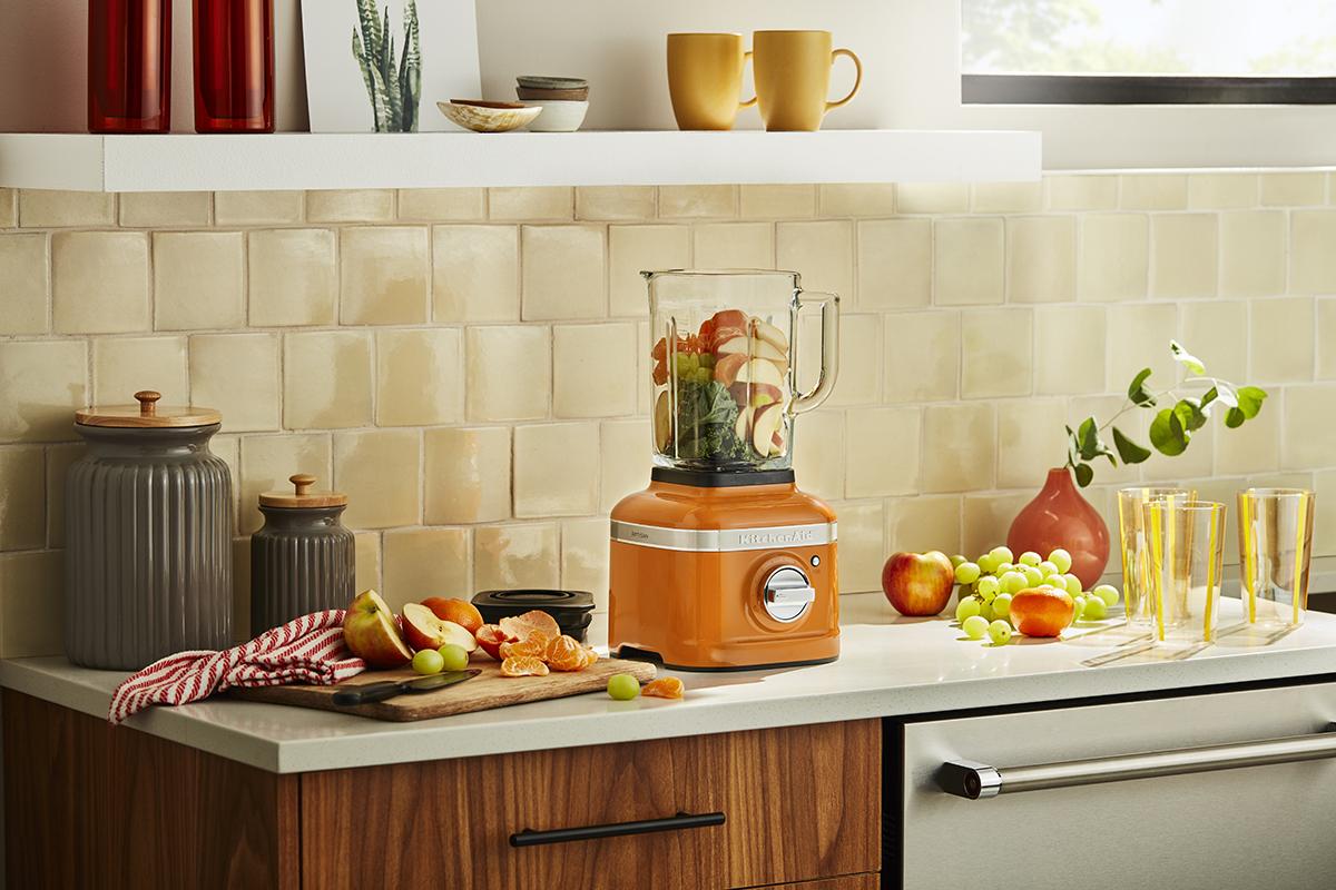 squarerooms Kitchenaid kitchen appliances blender honey shade warm yellow orange colour