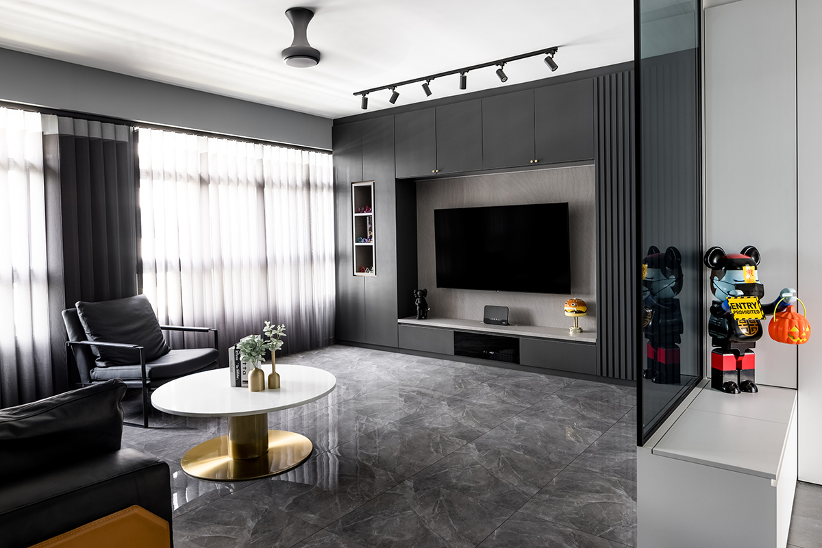 squarerooms jialux interior design home renovation grey monochromatic black white living room area communal zone feature wall tv couch table