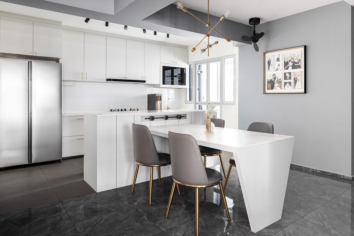 squarerooms jialux interior design home renovation grey monochromatic black white dining room minimalist modern luxe kitchen island