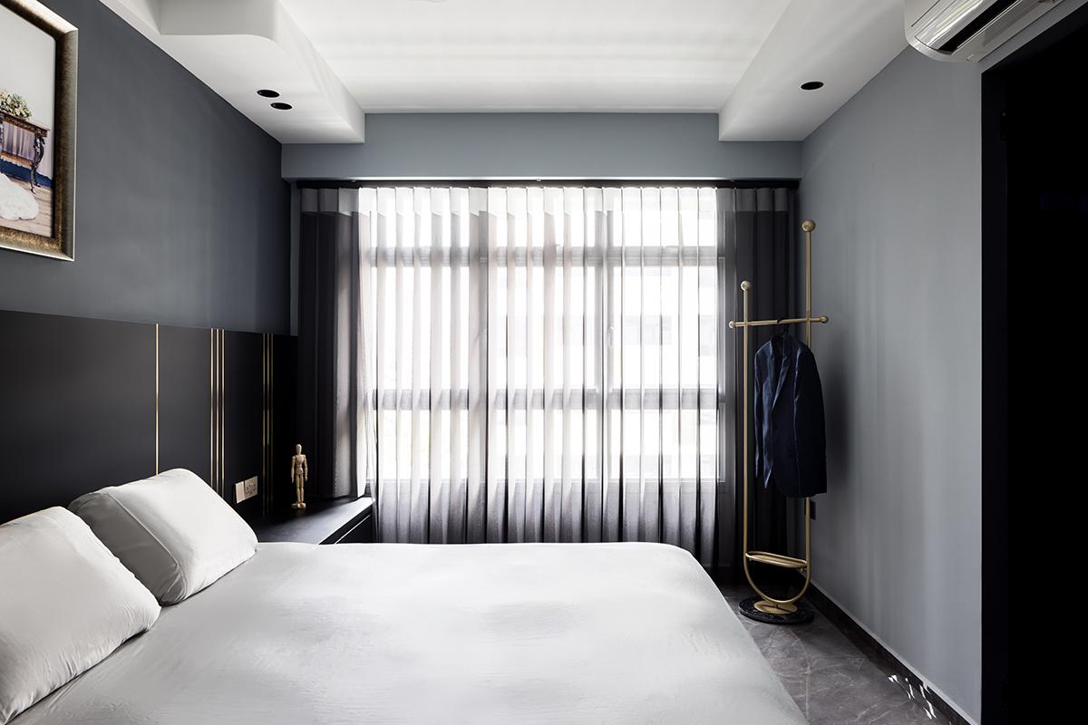 squarerooms jialux interior design home renovation grey monochromatic black white bed bedding bedroom master suite