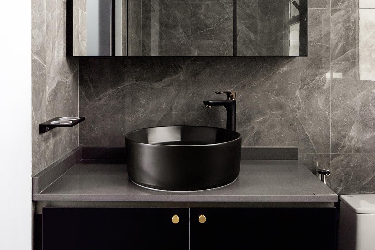 squarerooms jialux interior design home renovation grey monochromatic black white bathroom vanity sink washbasin countertop