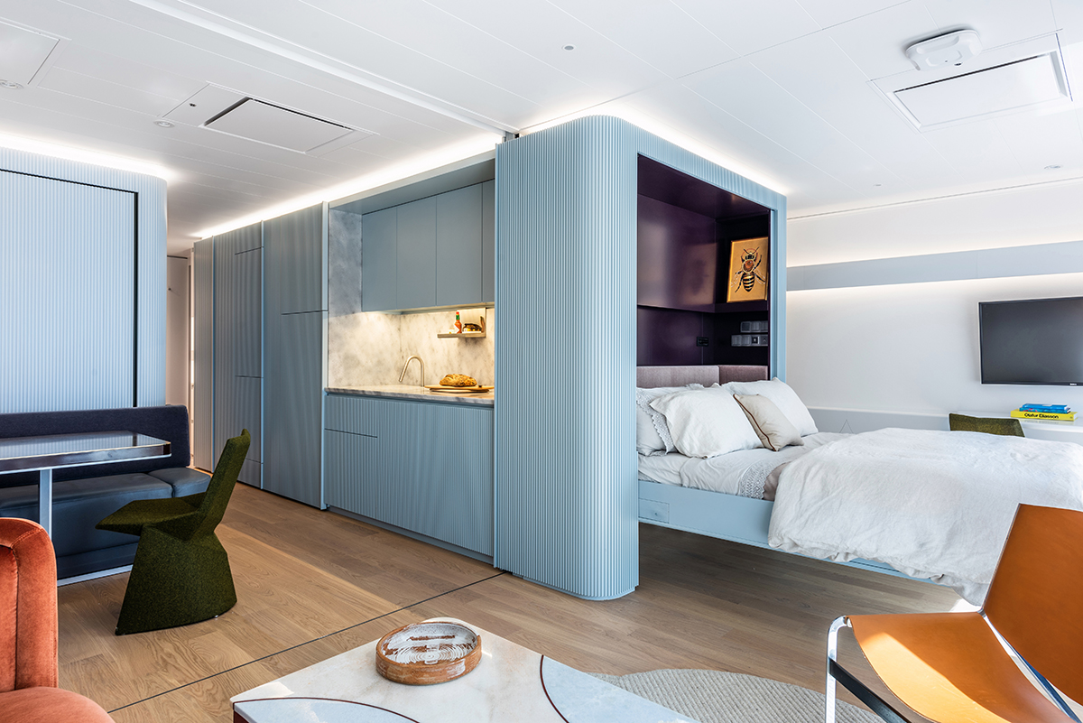 squarerooms mkca michael k chen architecture interior design home renovation house boat residential yacht blue light pale baby contemporary fold-up bed multifunctional