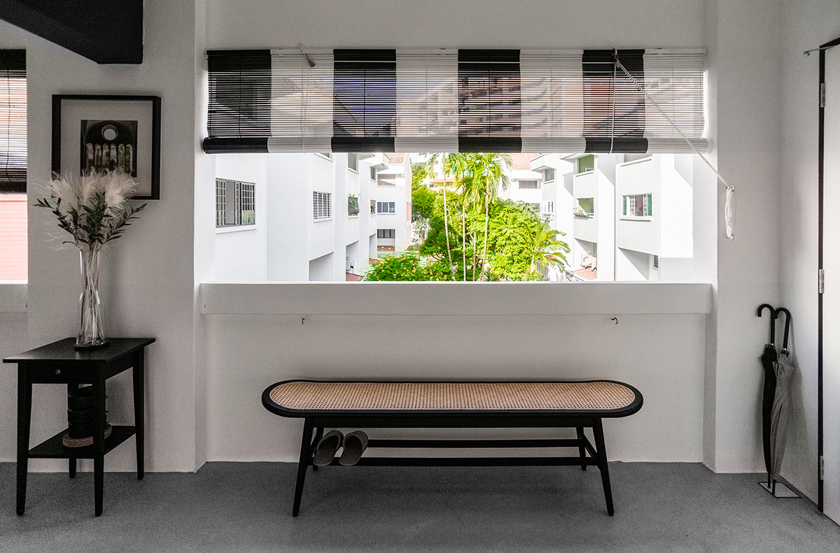 squarerooms versify studio architecture interior design home inspo house tour landed property monochromatic black and white modern balcony bench seating chill relax