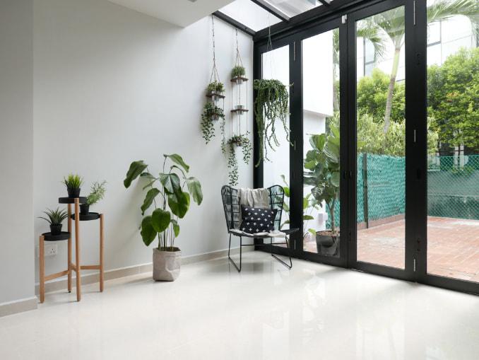 squarerooms d'marvel scale cosy minimalist corner plants garden green window