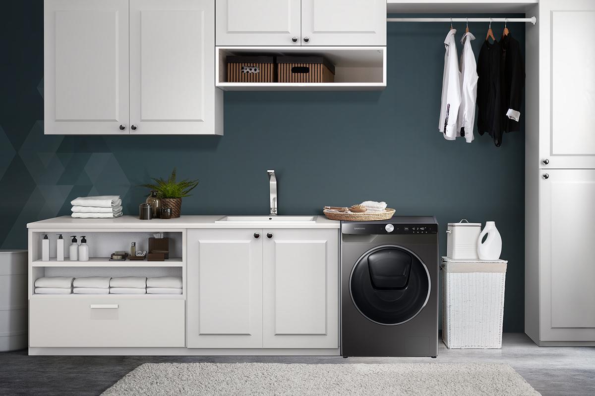 squarerooms samsung washer dryer quickdrive new washing machine appliance laundry black dark