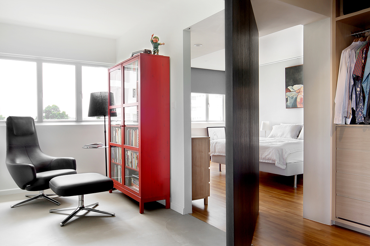 squarerooms brim design home renovation neptune court interior styling makeover cosy inviting warm office bedroom dual double entrance swinging door red shelf