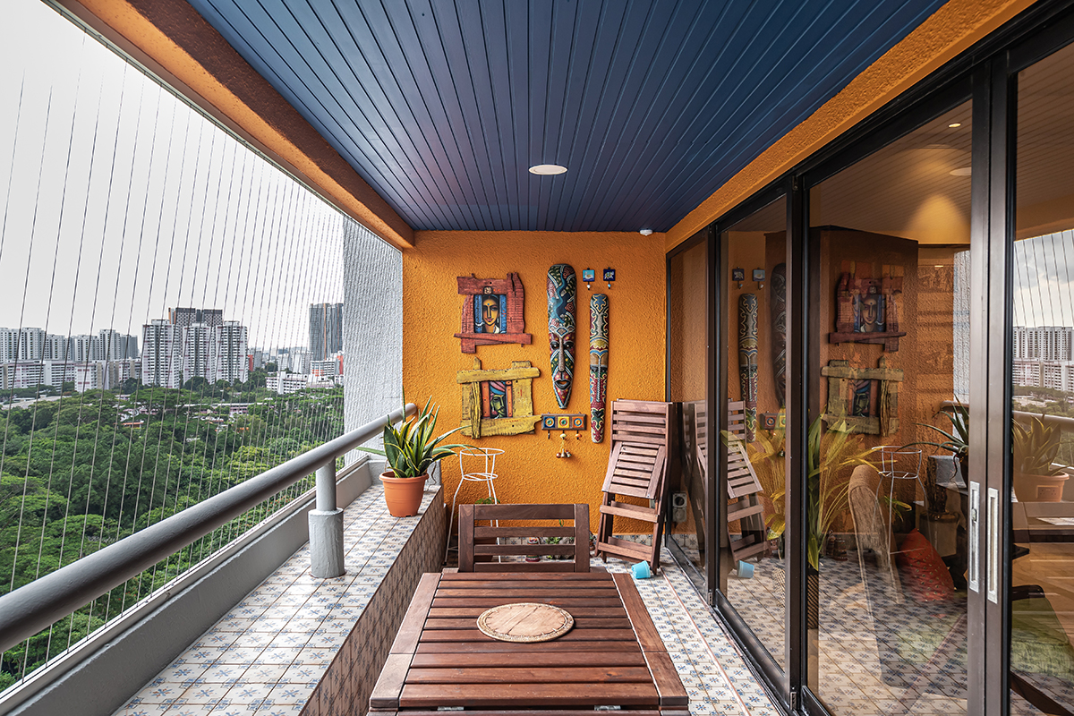 squarerooms renozone warm inviting condo home renovation maximalist eclectic bold colourful balcony orange blue wood