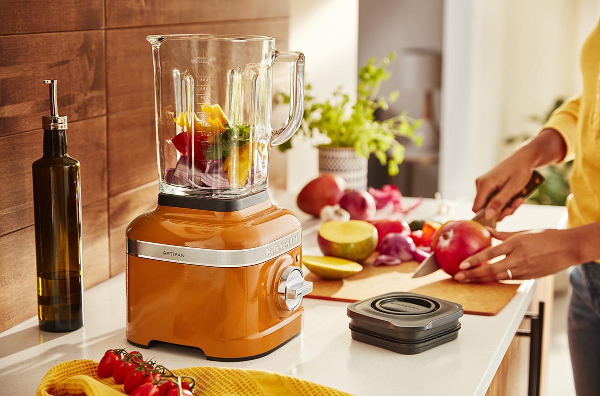 squarerooms kitchenaid honey shade colour of the year kitchen palette appetite scheme decorate warm orange blender counter food prep cooking