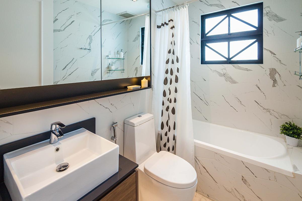 squarerooms richfield integrated home condo condominium renovation design interior bathroom white wood marble minimalist modern
