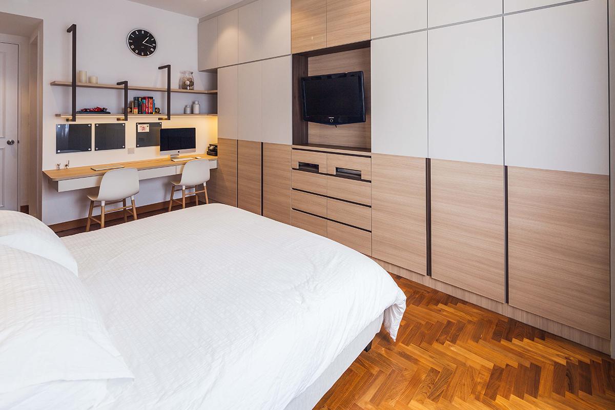 squarerooms richfield integrated home condo condominium renovation design interior bedroom resort style wood floors white bedding desk office work study