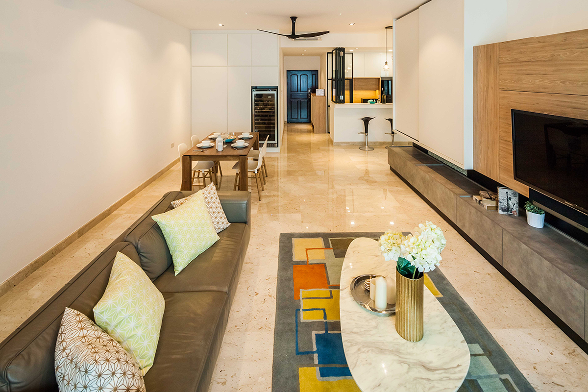 squarerooms richfield integrated home condo condominium renovation design interior living room area rug eclectic couch sofa cushions tv open plan space marble floors