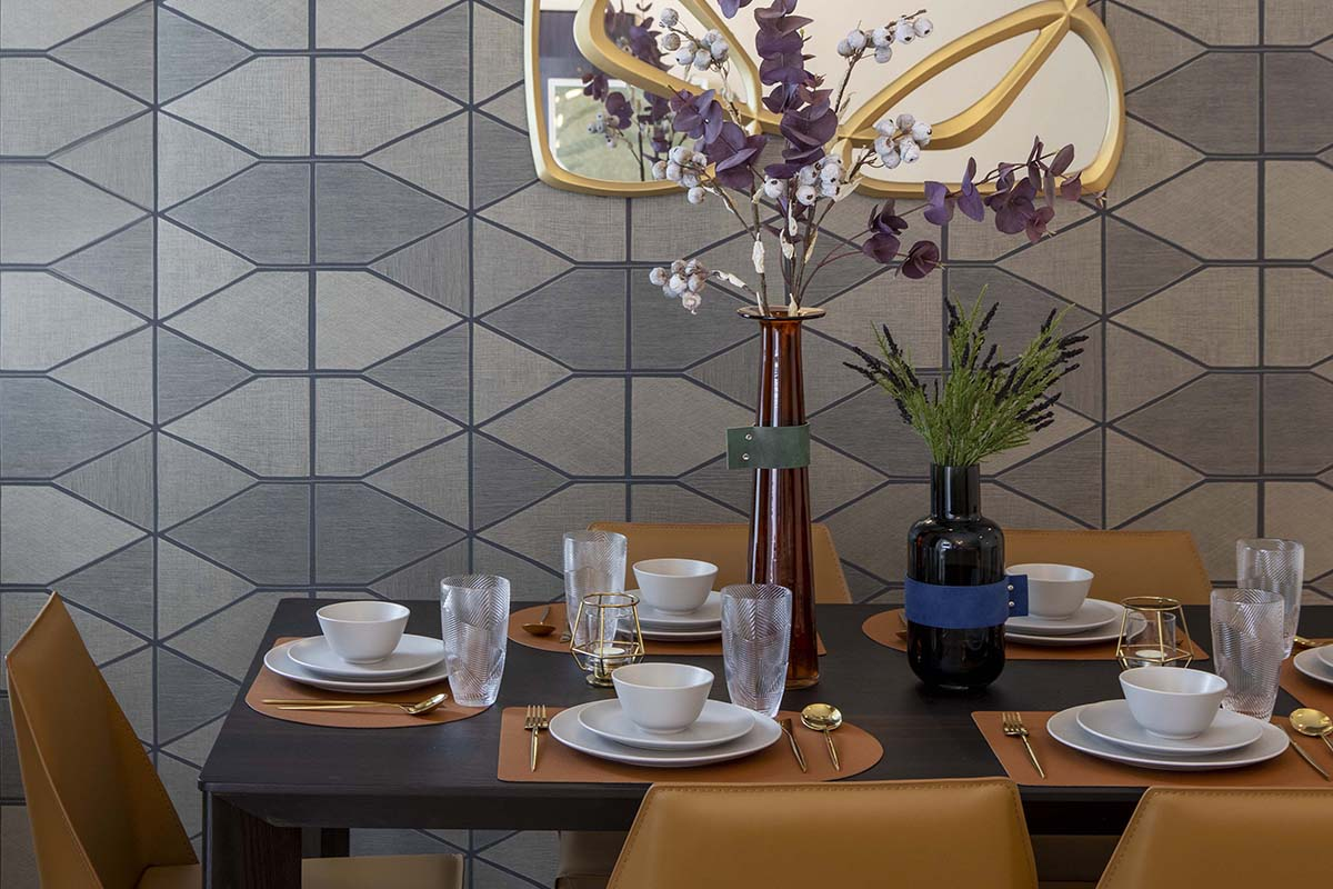 squarerooms home philosophy renovation budget design interior condo makeover dining room area tiles wall orange table chairs