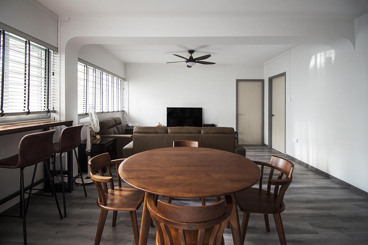 squarerooms noble interior design budget home renovation makeover resale 4 room hdb flat dining living room area wood vinyl
