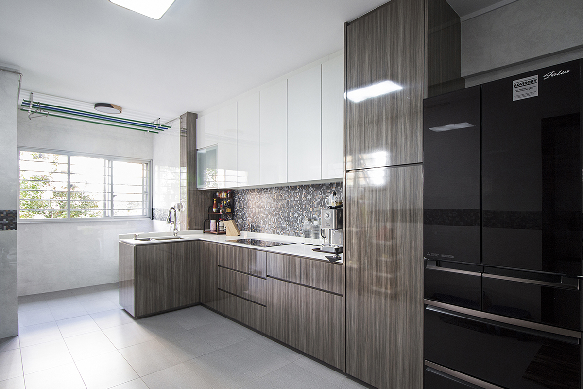 squarerooms noble interior design budget home renovation makeover resale 4 room hdb flat kitchen monochromatic neutral glossy laminates