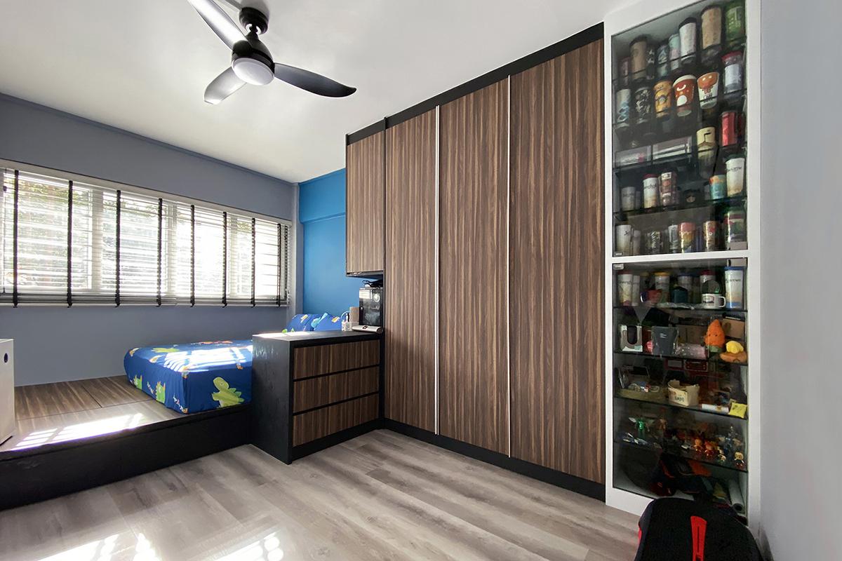 squarerooms noble interior design budget home renovation makeover resale 4 room hdb flat bedroom blue wood carpentry works shelf masculine