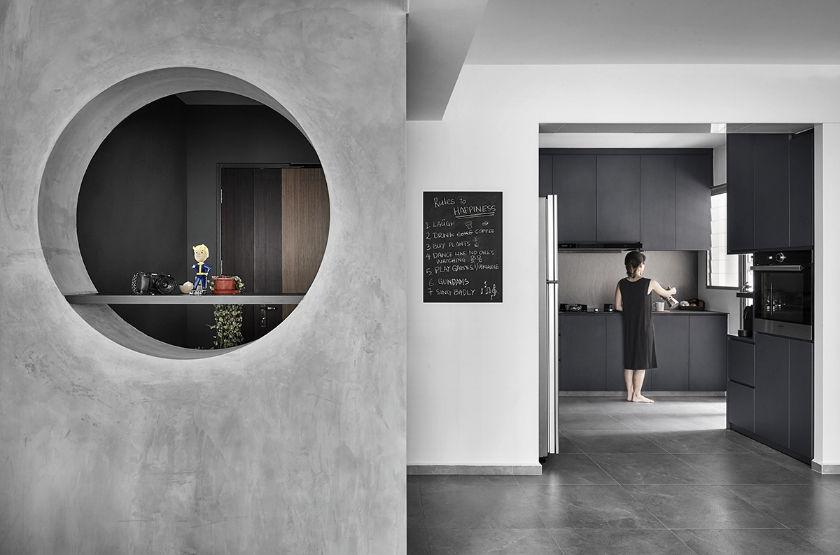 squarerooms blend by imc interior home design renovation makeover 4 room bto hdb flat minimalist dark grey feature wall hole entrance kitchen