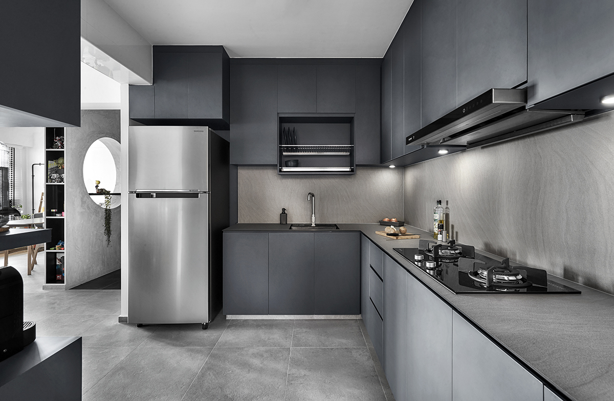 squarerooms blend by imc interior home design renovation makeover 4 room bto hdb flat minimalist dark grey kitchen