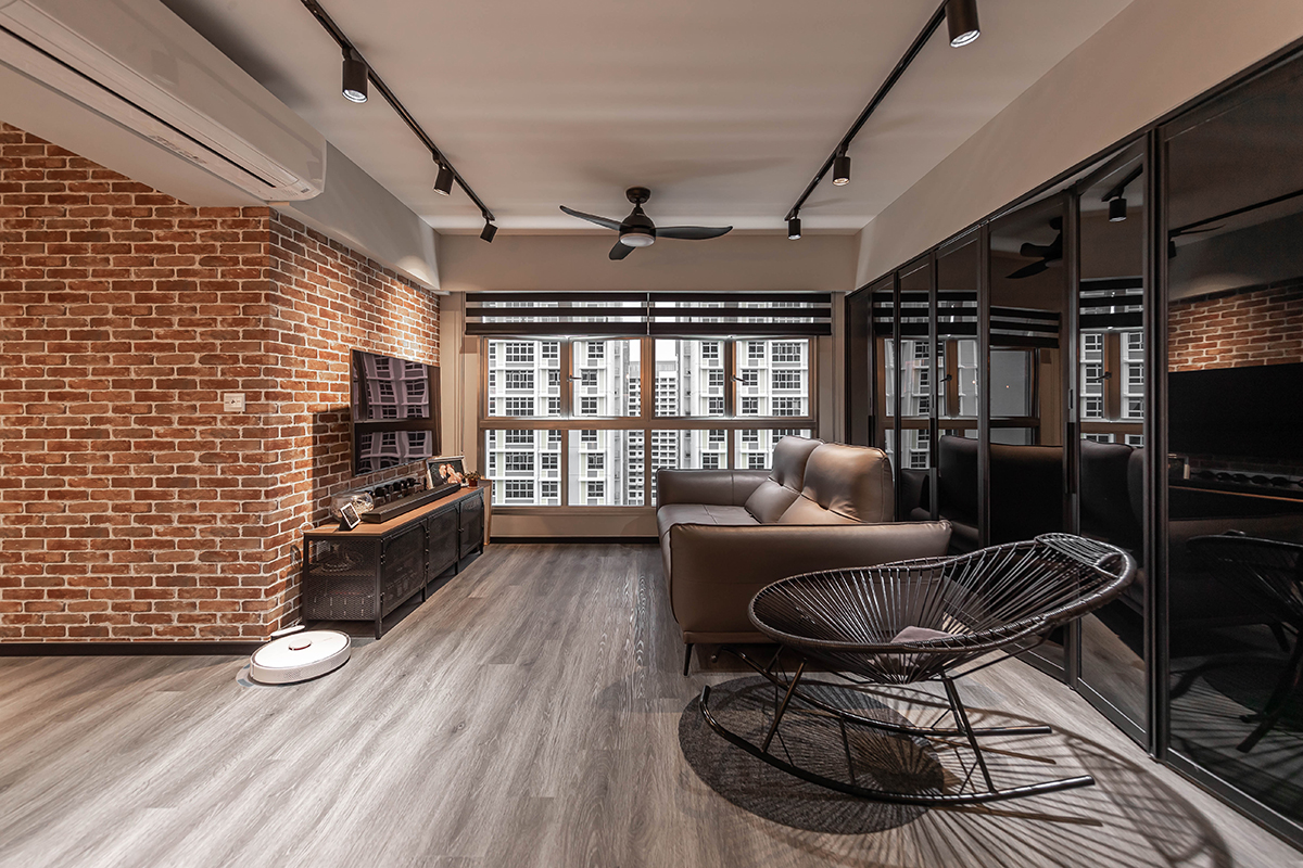 squarerooms renozone budget home renovation interior design makeover hdb flat industrial living room tv console brick feature wall