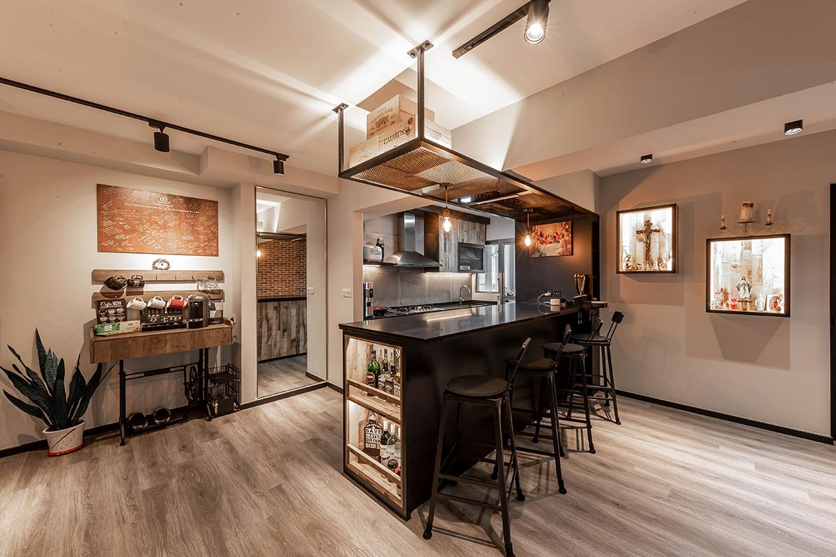 squarerooms renozone budget home renovation interior design makeover hdb flat industrial kitchen island hidden door