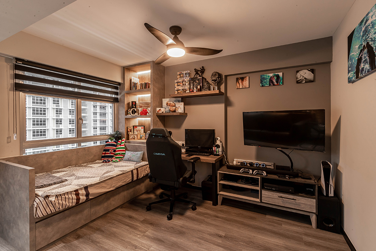 squarerooms renozone budget home renovation interior design makeover hdb flat industrial gaming room area study daybed