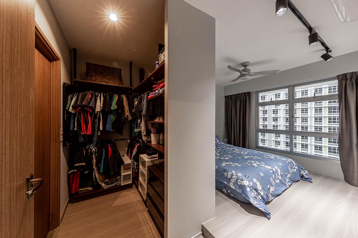 squarerooms renozone budget home renovation interior design makeover hdb flat bedroom main master suite walk in wardrobe partition