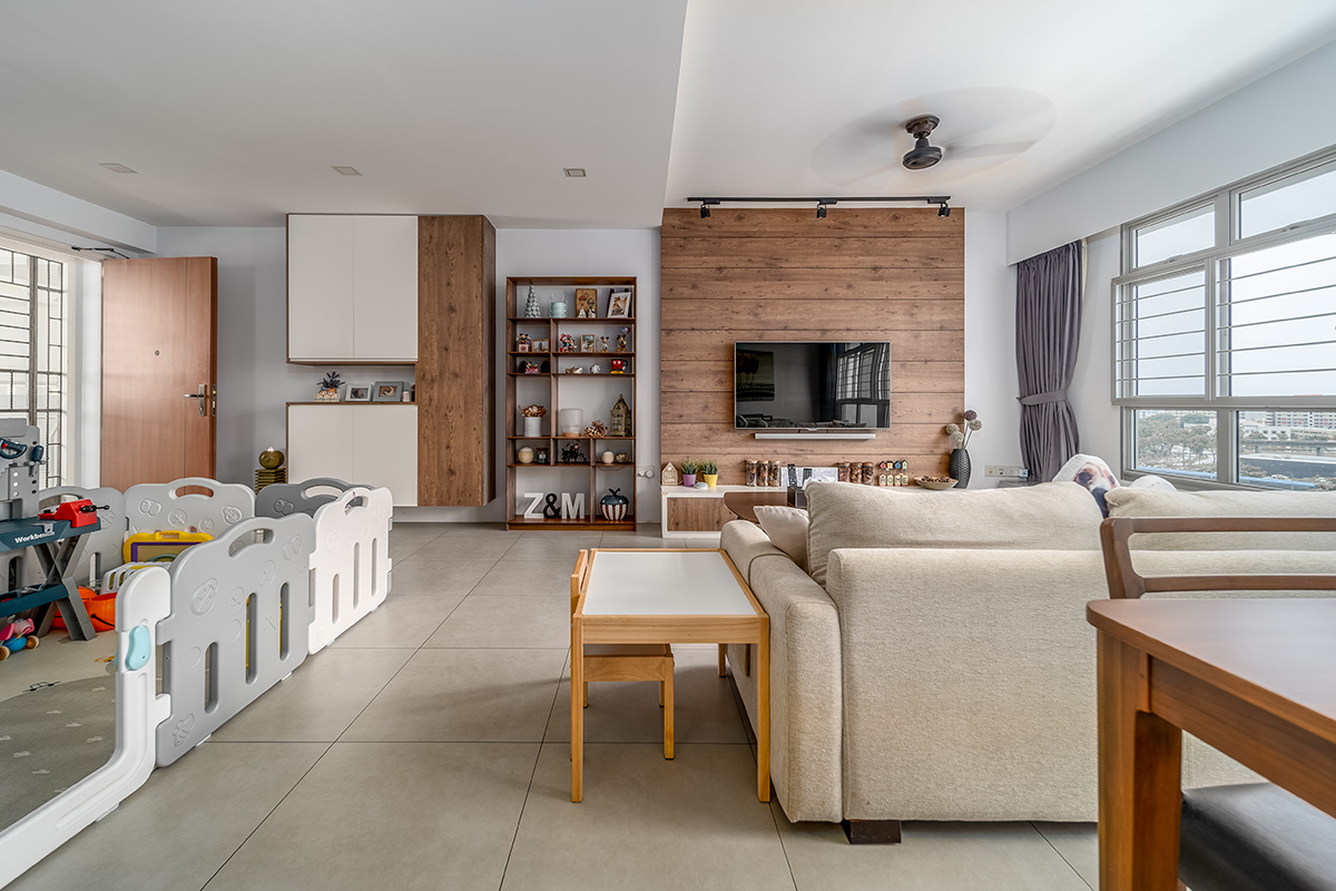squarerooms michelle lim living room self home renovation without id interior design neutral brick wall beige couch feature