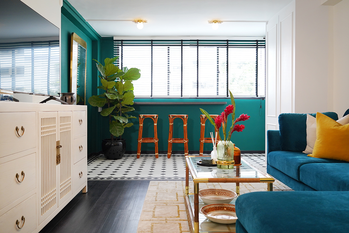 squarerooms noah naima self renovation without id home interior design blue green bright colourful bold living room balcony