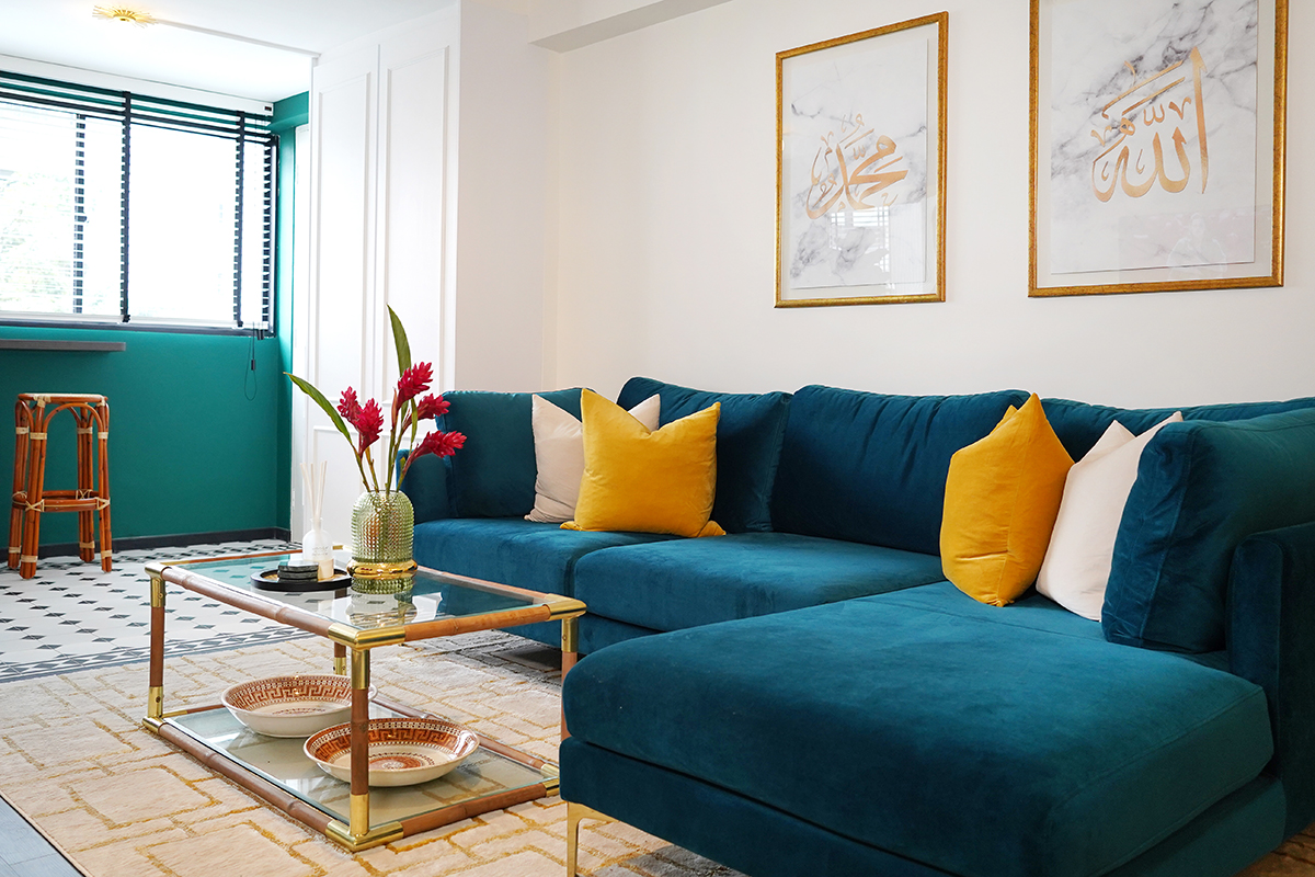 squarerooms noah naima self renovation without id home interior design blue green bright colourful bold living room couch sofa table rug artwork maximalist